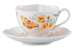 Lenox Butterfly Meadow Fritillary Footed Tea Cup and Saucer Set NEW in Box