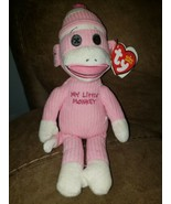 """10"""" Ty Beanie Babies My Little Sock Monkey Pink Retired With Tag MWMT - $20.53"""