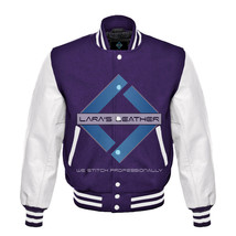 Top Purple Varsity Baseball Genuine Leather Sleeve Letterman College Woo... - $94.99