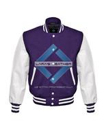 Top Purple Varsity Baseball Genuine Leather Sleeve Letterman College Woo... - $94.99