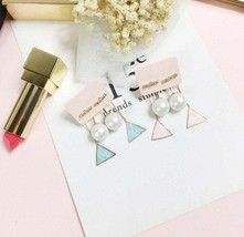 Mother's day gift•Free Shipping•Triangle and Pearl•Drop earring•pink and... - $12.00