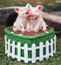 Love is Cool in Mud Valentine's Day Pig Couple On Heart Decorative Jewel... - $26.99