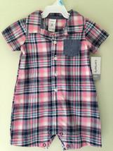 NWT Carter's Adorable Baby Boy Pink Blue Plaid One Piece Shirt Bodysuit 6 M $28 - $14.00