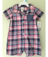 NWT Carter's Adorable Baby Boy Pink Blue Plaid One Piece Shirt Bodysuit ... - $14.00