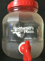 Godfather's Pizza Plastic Beverage Drink Container Dispenser Pitcher Red... - $21.05 CAD