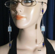 Dr Who Eyeglasses Chain Holder Blue Police Phone Box Time Lord Travel He... - $29.00+