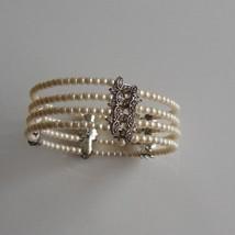 Vintage Monet Signed Faux Pearl & Rhinestone Silver Tone Wire Cuff Brace... - $64.35