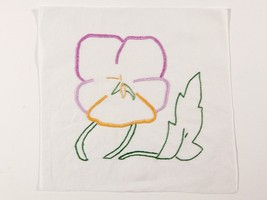 FREE SHIP: Vintage Quilt Piece - Embroidered Purple, Lilac, Yellow Flower - $5.00