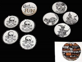 4 222 HALLOWEEN Skulls Script Ghouls Wiccan Appetizer Plates NWT 4 Styles U-Pick - $25.95