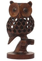 Handmade Cutout Patterned Owl Statue In Wood Featuring - $27.87