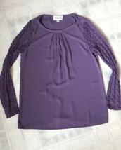 Anthropologie Sabine Sz Small Purple Pleated Blouse Purple Lace Sleeves - $26.96