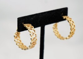 Emmons Filigree Adj Clip On Goldtone Gold Tone Earrings Signed - $12.60