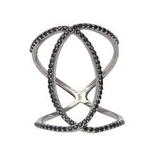 925 Silver Black Spinel Gemstone Double Shank Eternity Band Statement Ba... - $12.70
