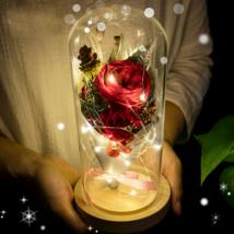 Artificial Rose Flower Floral Led Luminous Romantic Preserved Flower GIft Decors - $37.61