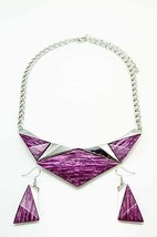 Fashion Women Choker Collar Purple Triangles Necklace Pendant Drop Earri... - $24.45