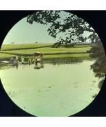 Vtg Magic Lantern Glass Slide Photo Color Scandinavians Washing In River - $12.30
