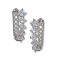 New Clear Cz Graduated Solitaire Huggie Hoop Earring -BRIDAL - $21.78