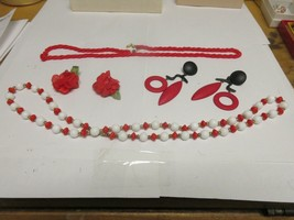 Costume Jewelry ,Vintage , Red / White  , Neck , Ear  - $44.55