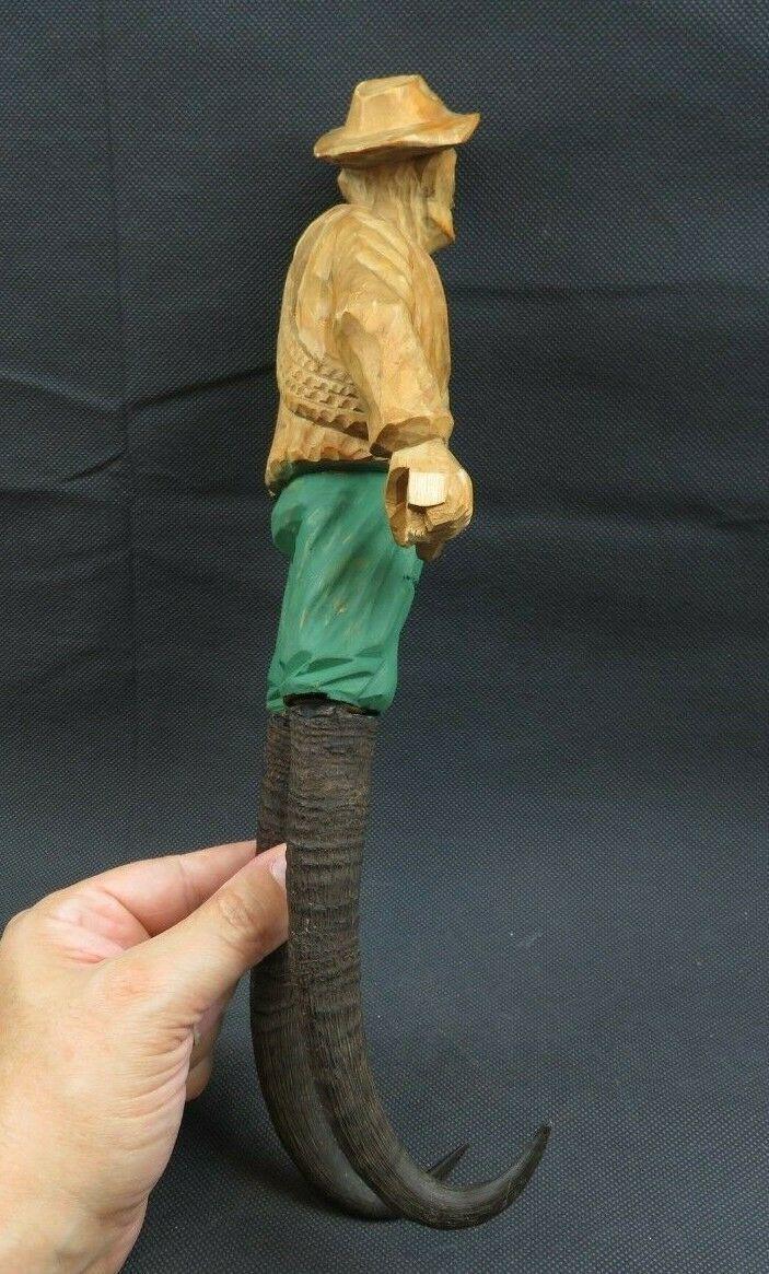 Antique 1900 German Black Forest Carved Wood Figural Chamois Horns Hook Rack image 8
