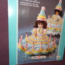 "Birthday Girl Dress Crochet Pattern 13"" Doll Fibre Craft 1990 FCM210 Music Box - $9.99"