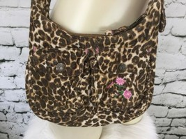"The Children's Place Crossbody Purse Cheetah Print Corduroy Pink Flowers 8"" X 6"" - $13.86"