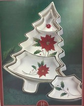 Royal Limited Holly Holiday Christmas Tree Sectioned Serving Tray RARE N... - $54.95