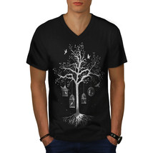 Fantastic Cage Tree Shirt Bird Dream Men V-Neck T-shirt - $12.99+