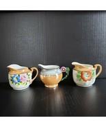 3 Vintage Peach Lusterware Creamers Made in Japan Noritake Trico Hand Pa... - $39.99