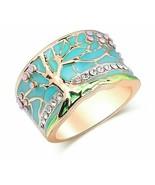 Flower Tree Rings Opal Green Enamel Wide for Women Fashion Party Crystal... - $9.99