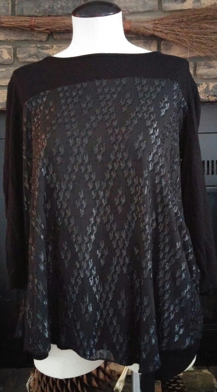 e0985f0f15 Dress Barn Womens Black Top Size XL Long Sleeve Black Glitter Career Casual