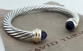 David Yurman Sterling Silver & 18k Gold AMETHYST 7mm Cable Classic Bracelet - $449.99