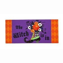 "Witch Boot ""The Witch is in"" Sassafras Switch Mat  22""x10"" Evergreen Door Mat - $11.83"