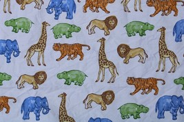 Pottery Barn Kids Safari Zoo Animal Full Flat Sheet or Fabric 100% Cotton - $19.95