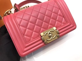 AUTHENTIC CHANEL PINK QUILTED LAMBSKIN SMALL BOY FLAP BAG GHW WITH RECEIPT image 7