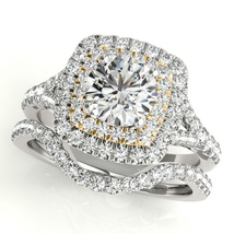 10k White Gold Plated 925 Silver Round Cut Sim Diamond Bridal Wedding Ring Set - $103.58