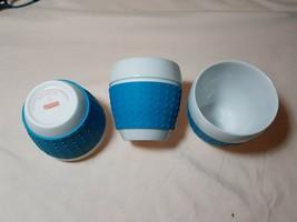 3 Bodum Pavina White Porcelain~ Blue Silicone Sleeve Grip Coffee Cup Mugs - $24.74