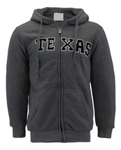 Men's Texas Embroidered Sherpa Lined Warm Zip Up Fleece Hoodie Sweater Jacket image 2