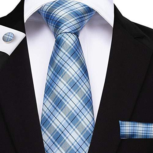 "Primary image for Classic Extra Long Mens Tie Necktie Hanky Silk N-7517 (8.5""x160"") Blue Color Tkg"