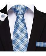 "Classic Extra Long Mens Tie Necktie Hanky Silk N-7517 (8.5""x160"") Blue C... - $17.82"