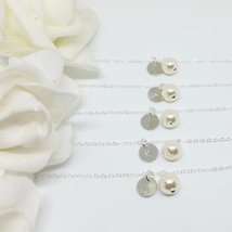Monogram Pearl Bracelet Sterling Silver - Bridesmaid Initial Set - $30.00+
