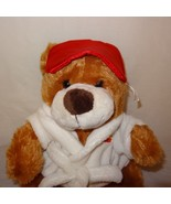 "Brown Teddy Bear Dan Dee White Robe Red Sleeping Mask Plush Stuffed 11"" ... - $19.99"