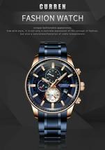 CURREN Men Watches Stainless Steel Wristwatch Male Chronograph Quartz Watch Gift - $38.61