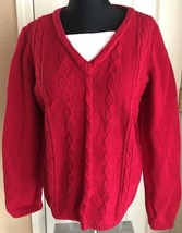 Christopher & Banks Red Long Sleeve Sweater With White Dickey Shirt Wome... - $14.84