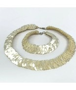 Mother of Pearl Collar Necklace and Bracelet Set Hand Made  - $375.21