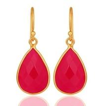 Pink Chalcedony 18K Gold Plated 925 Sterling Silver Earrings Designer Je... - $18.81