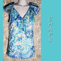 Chaps ~ Women's Blue & Yellow Ruffle Sleeveless Pullover Shirt ~ Size Small - $2.86