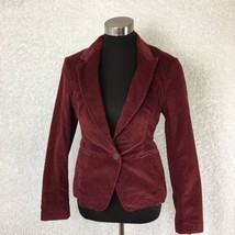 London Jeans Women Blazer 4 Corduroy Maroon Red Stretch Cotton One Butto... - $29.69