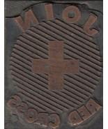 """Vintage Wood & Metal Printing Print Block Stamp, """"Join Red Cross"""" - $9.49"""