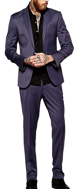 Mens slim fit skinny formal wear dark grey 2 piece tuxedo suit