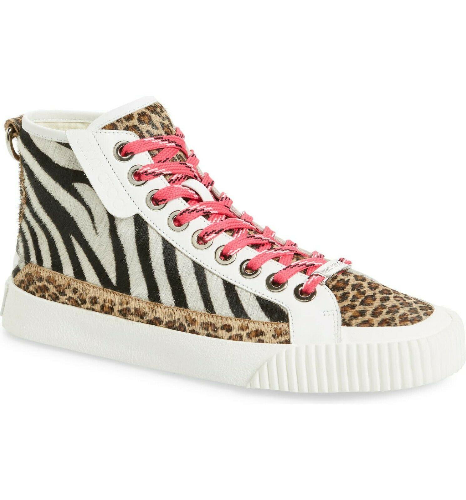 Jimmy Choo Impala Calf Hair High Top Sneakers Size 38.5 MSRP: $775.00 - $470.25